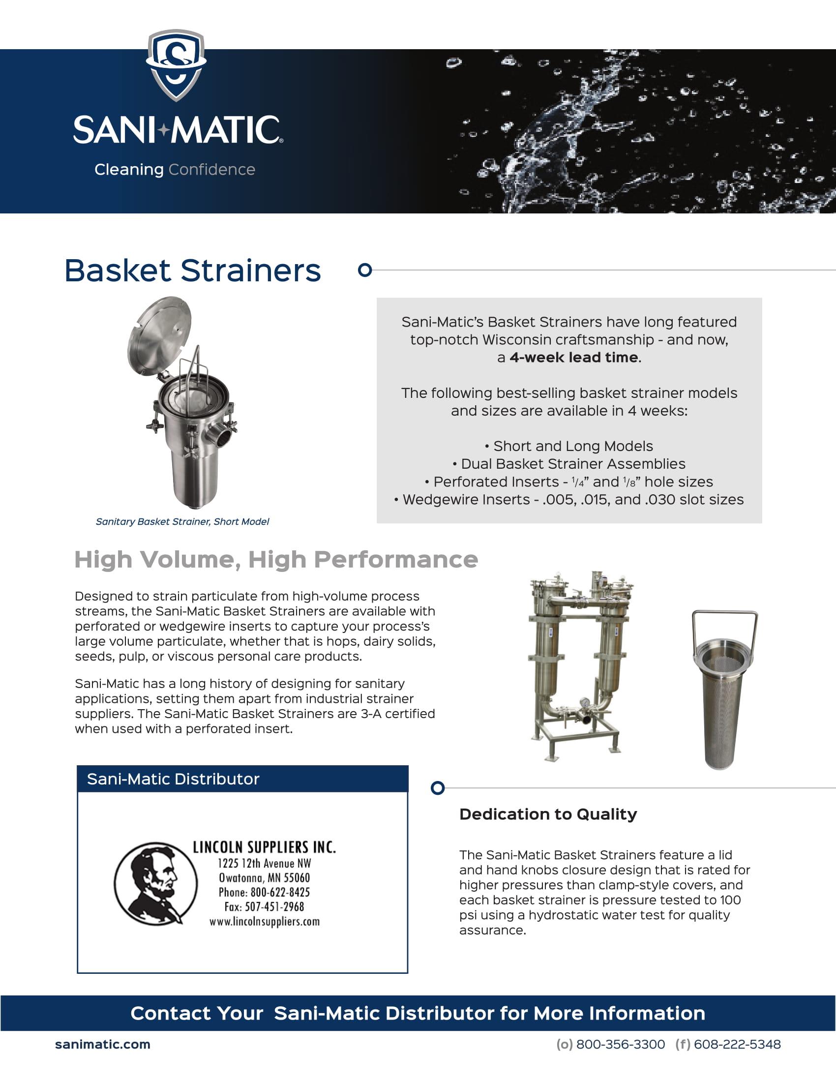 Sani-Matic's Basket Strainer Distributor